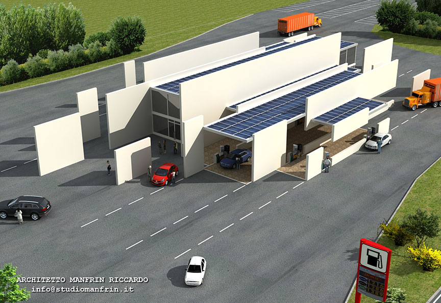 Distributore con bar, ristorante, camere, REI 180, antiproiettile, antisismico, in autonomia energetica ecologica.